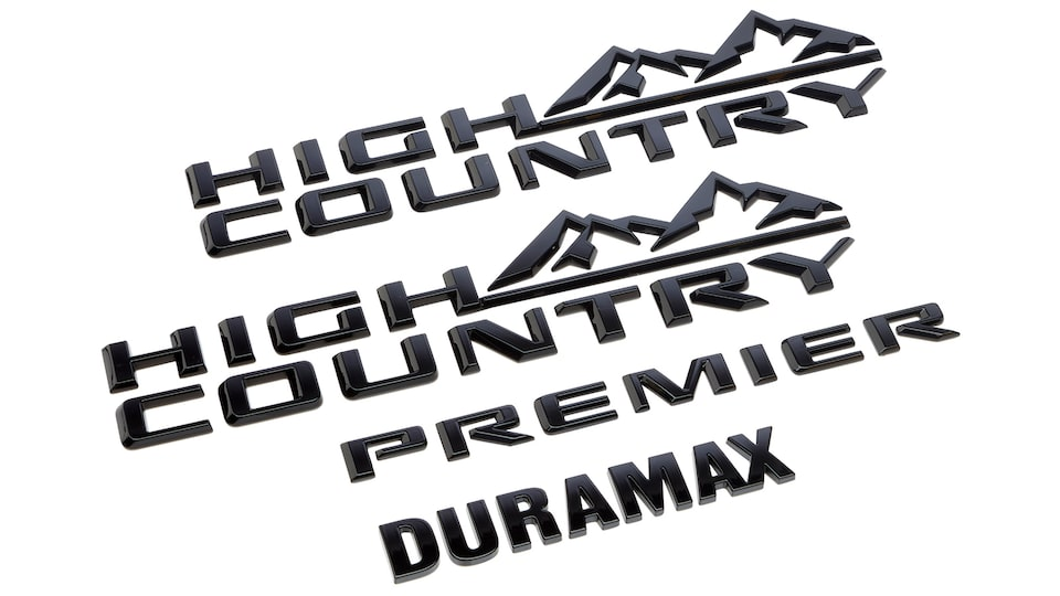 Emblemas High country, Duramax, y Premier en color negro